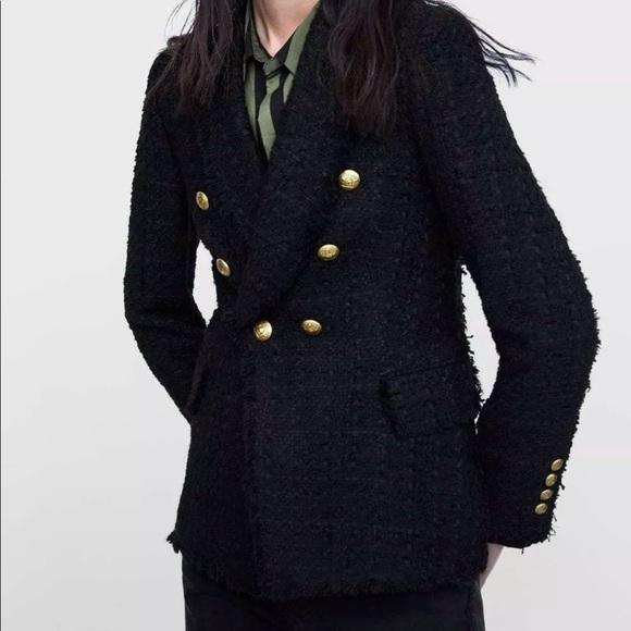 Zara Jackets & Blazers - ❤️ZARA BLACK TWEED BLAZER WITH BUTTONS